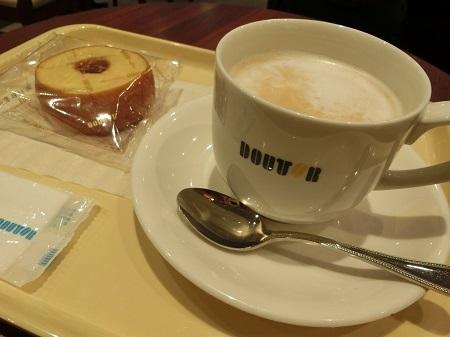 ドトールのカフェラッテとバームクーヘン