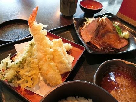 天ぷら盛り合わせと和風ローストビーフ