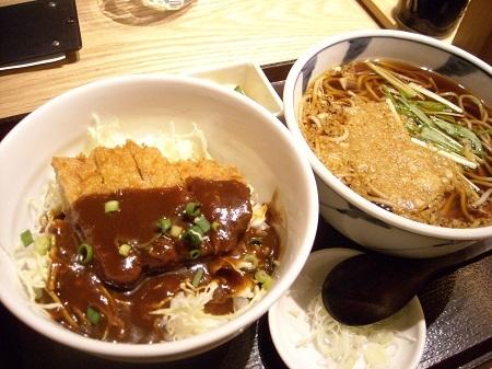 ソバキチの味噌カツ丼セット