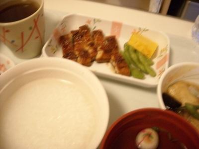 病食の昼食(鰻の蒲焼き)